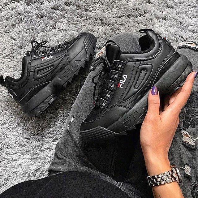 Replika-Çakma Fila Siyah Ayakkabı