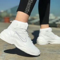 Replika-Çakma Nike M2K Tekno Bilekli Beyaz Ayakkabı