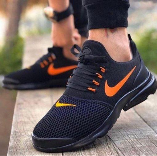 Çakma Nike Duralon Siyah-Turuncu Erkek-Bayan Spor Ayakkabı