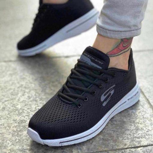 Çakma Skechers Siyah-Beyaz Ayakkabı