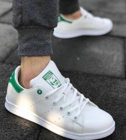 Çakma Adidas Beyaz-Yeşil Stan Smith Ayakkabı
